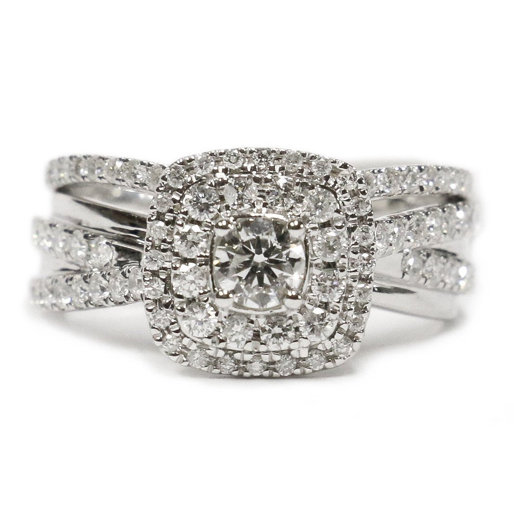 1.00 CT. Halo Diamond Engagement Ring in 14K White Gold - White Carat - USA & Canada