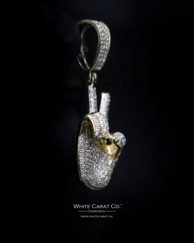 "0.96 CT. ""Peace Sign Fingers"" Diamond Pendant in 10K Gold - White Carat - USA & Canada"
