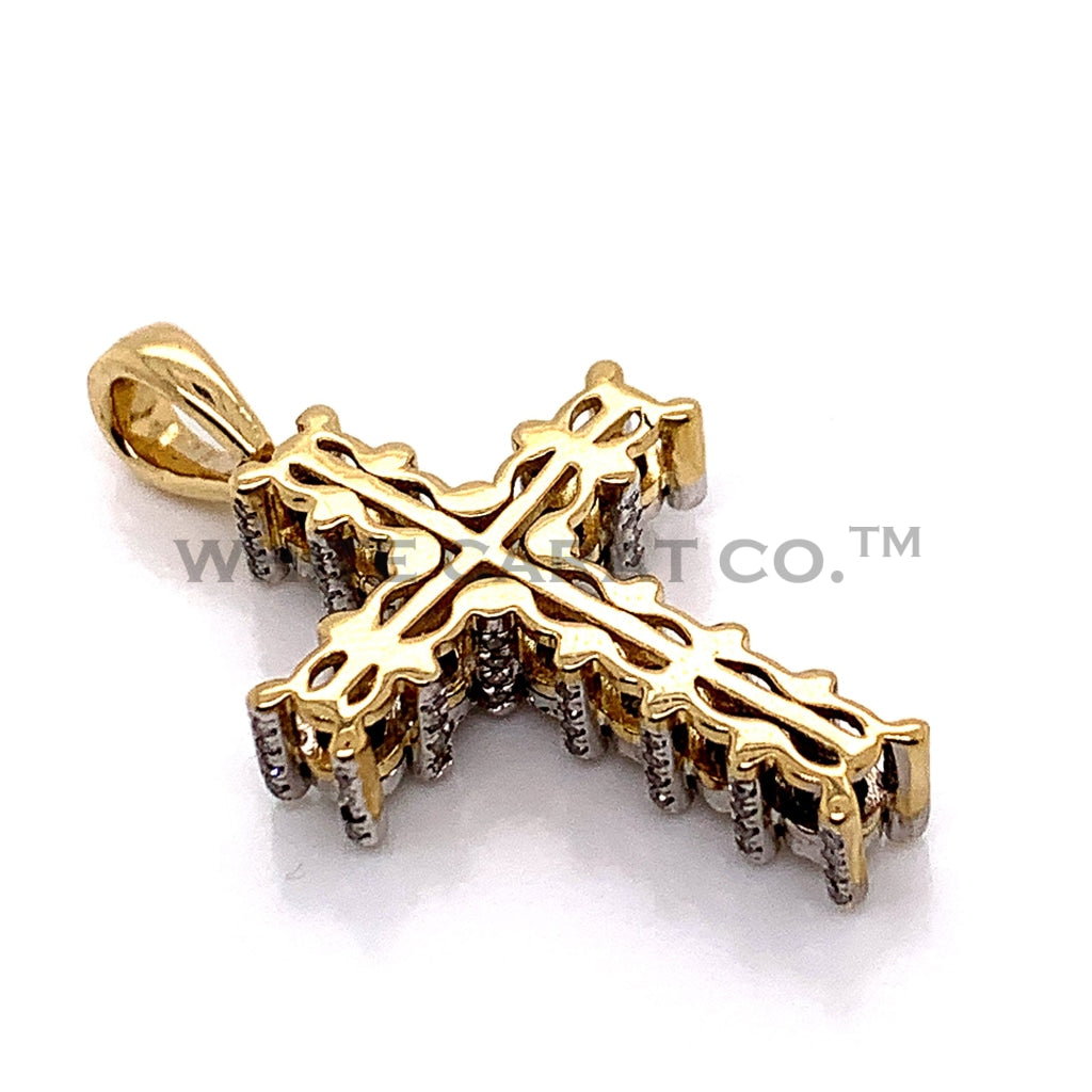 0.70CT Diamond 10K Yellow Gold Cross Pendant