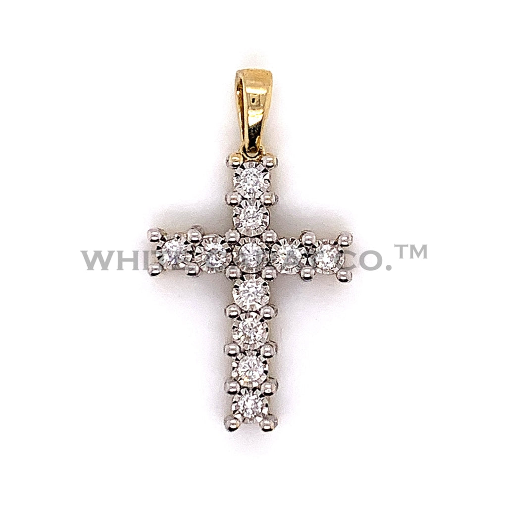 0.70CT Diamond 10K Yellow Gold Cross Pendant - White Carat Diamonds