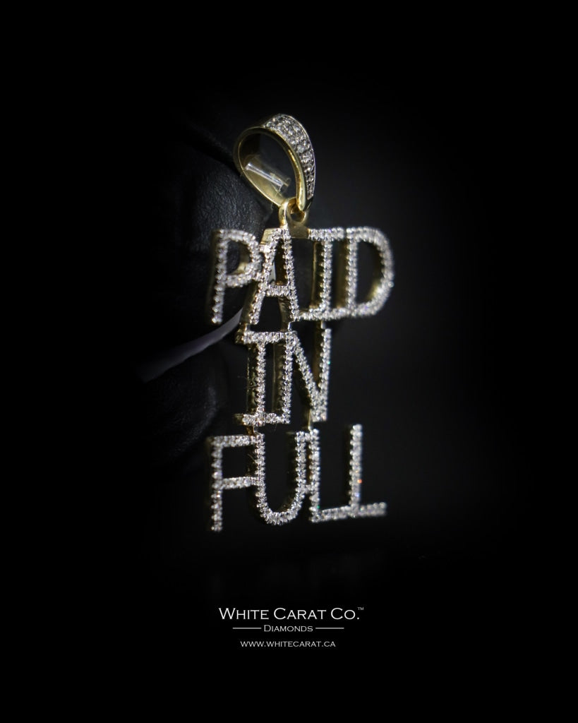 "0.43 CT. ""Paid In Full"" Diamond Script Pendant in 10K Gold - White Carat Diamonds"