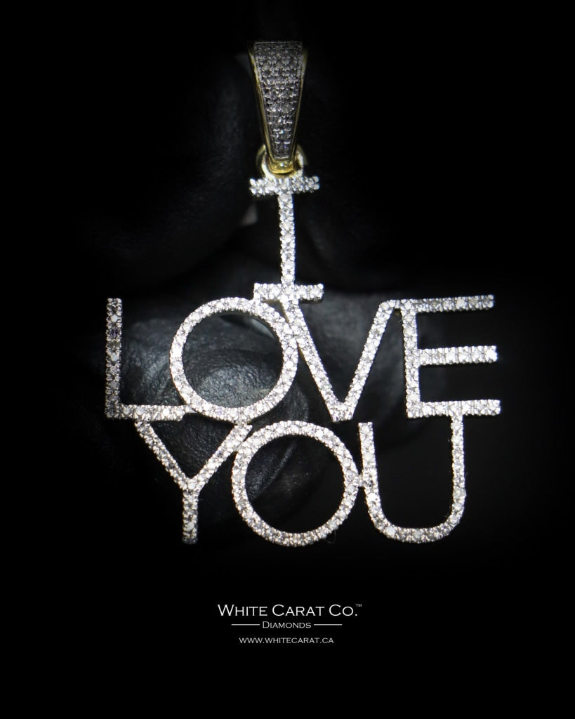 "0.38 CT. ""I Love You"" Diamond Script Pendant in 10K Gold - White Carat Diamonds"