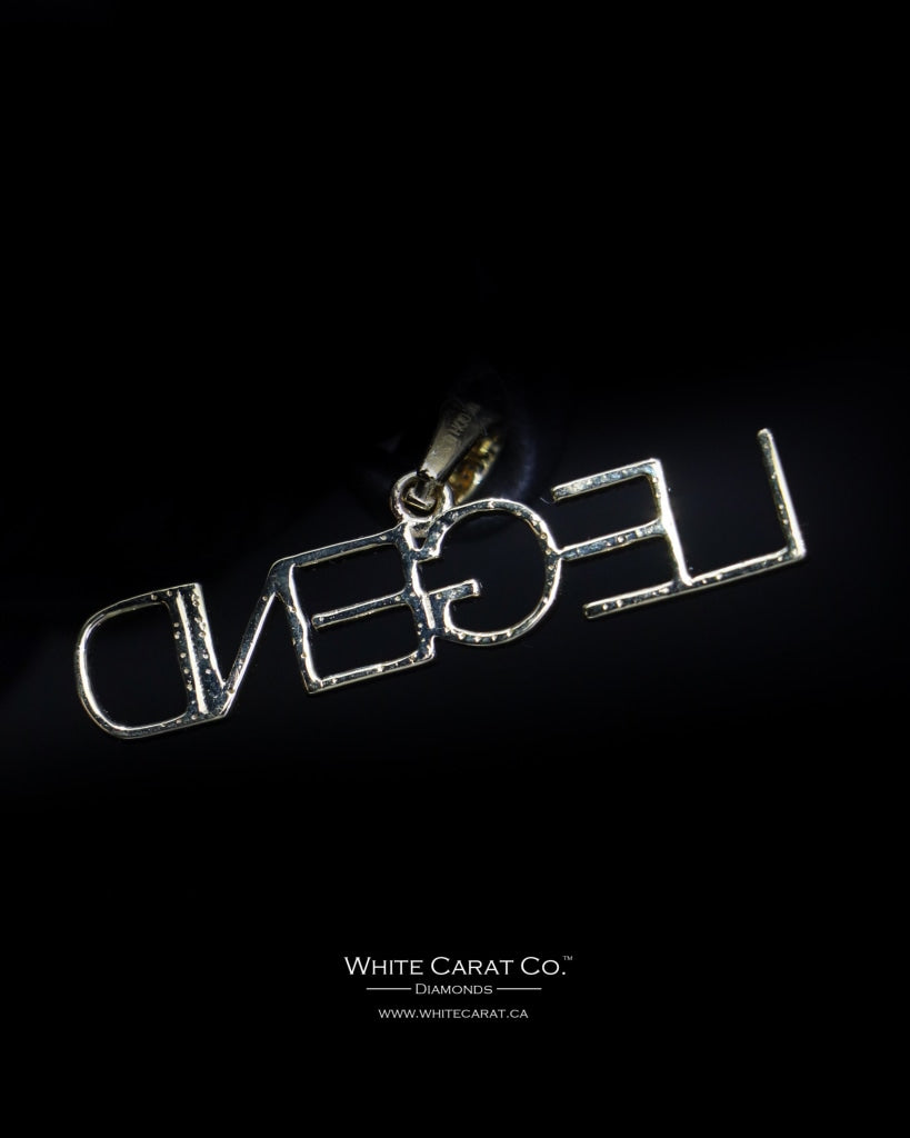 "0.35 CT. ""Legend"" Diamond Script Pendant in 10K Gold - White Carat Diamonds"