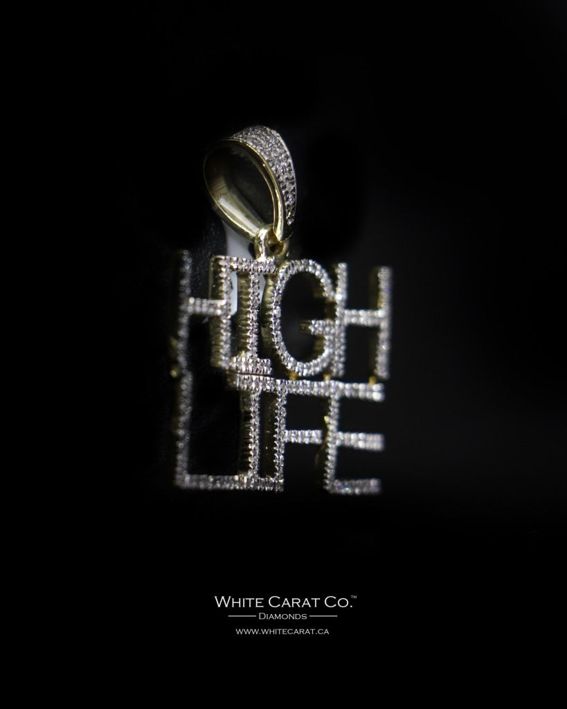 "0.38 CT. ""High Life"" Diamond Script Pendant in 10K Gold - White Carat - USA & Canada"