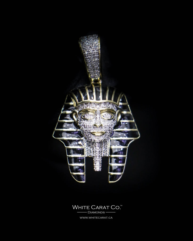 "0.25 CT. ""Classic Egyptian Headpiece"" Diamond Pendant in 10K Gold - White Carat Diamonds"