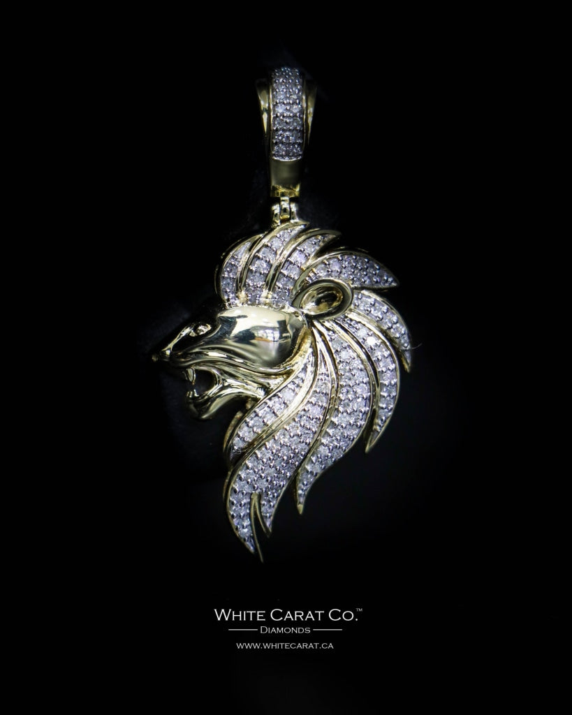 "0.33 CT. ""Lion Head"" Diamond Pendant in 10K Gold - White Carat Diamonds"