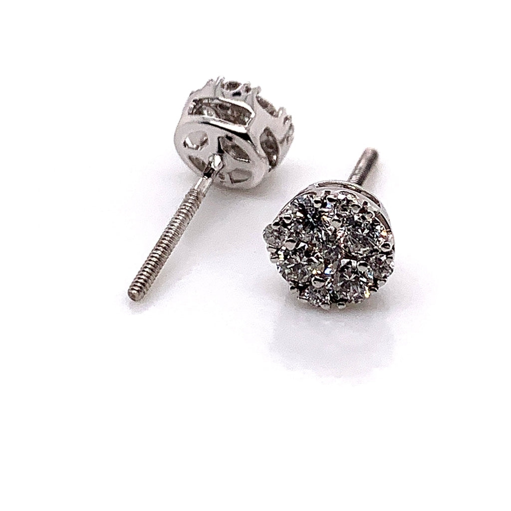14K White Gold Diamond Earrings - White Carat Diamonds