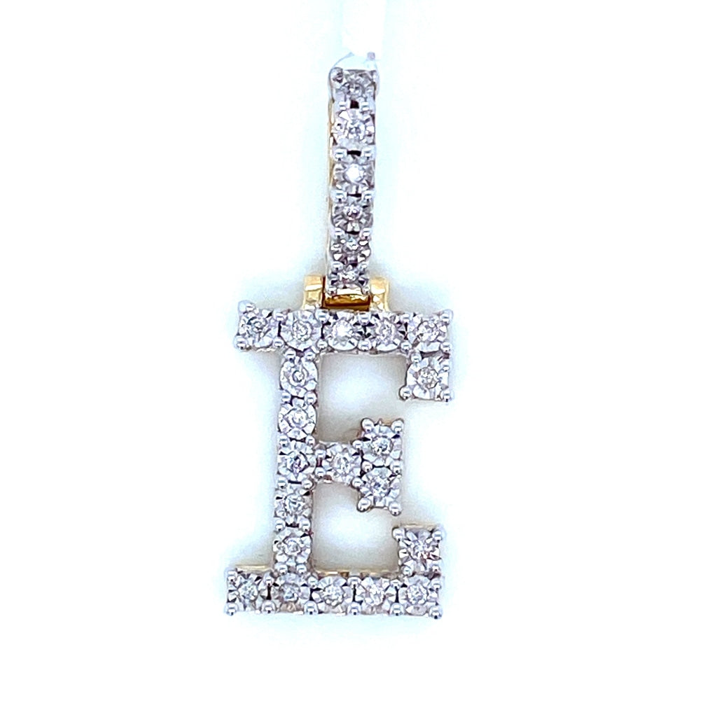 "0.20 CT. Diamond Letter ""E"" Pendant in 10K Gold - White Carat Diamonds"
