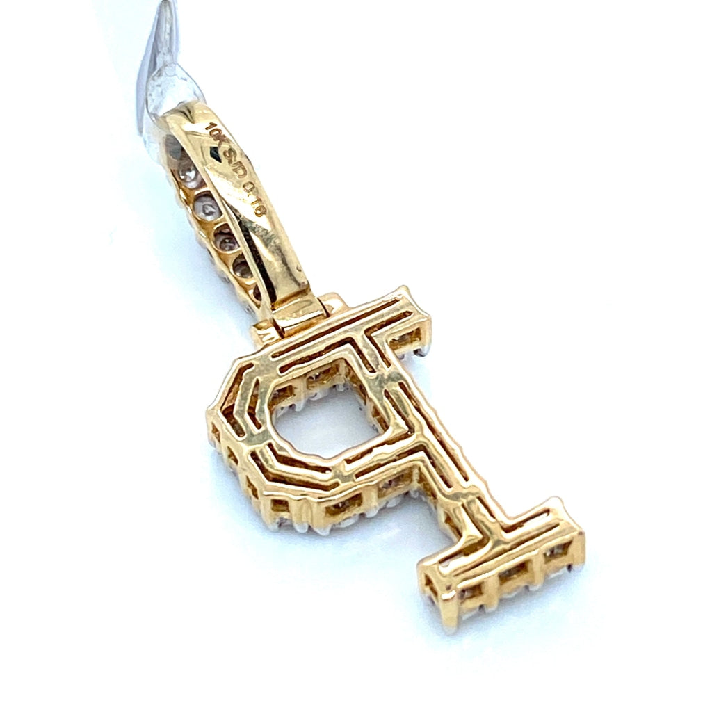 "0.16 CT. Diamond Letter ""P"" Pendant in 10K Gold - White Carat Diamonds"