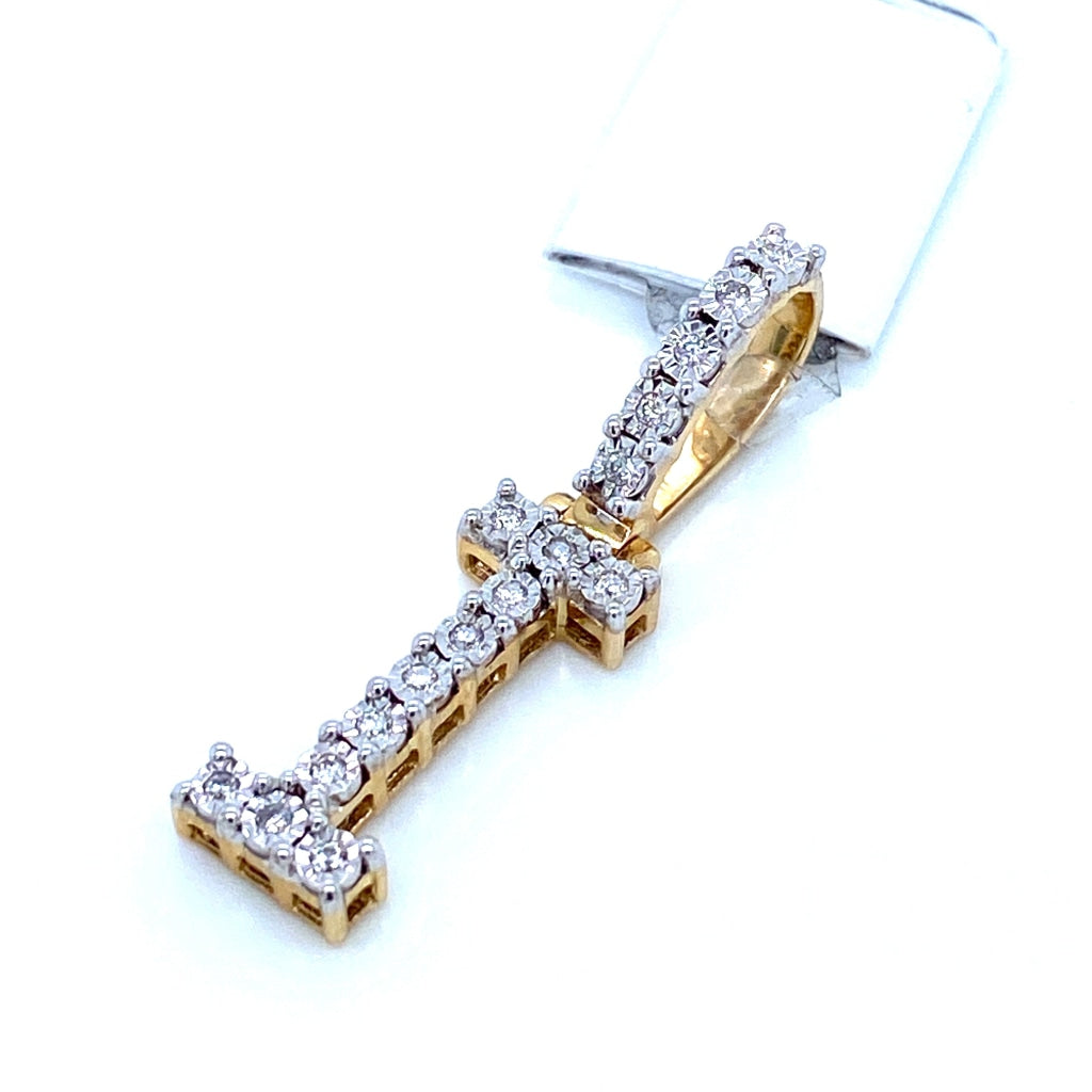 "0.13 CT. Diamond Letter ""I"" Pendant in 10K Gold - White Carat Diamonds"