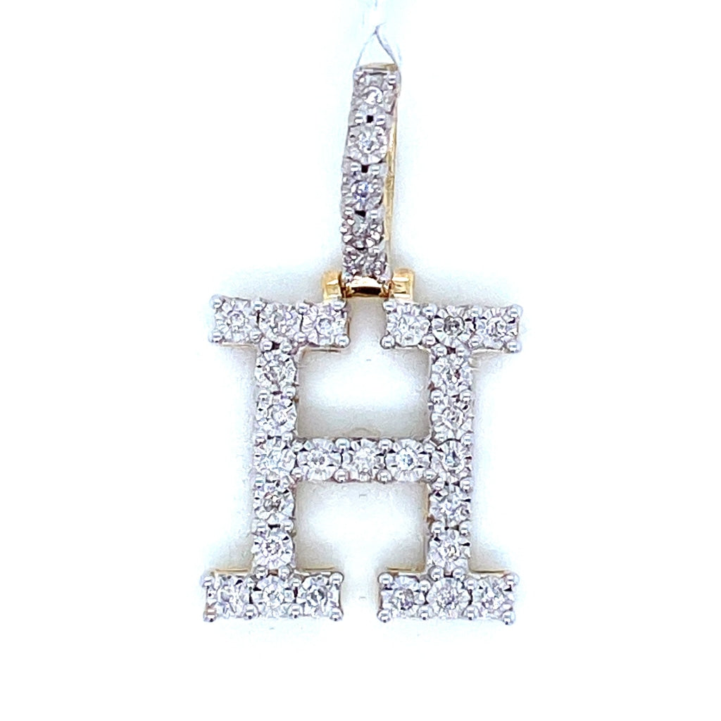 "0.23 CT. Diamond Letter ""H"" Pendant in 10K Gold - White Carat Diamonds"