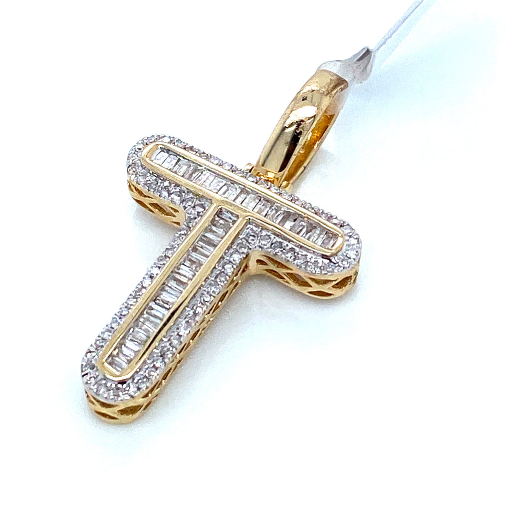 "0.39 CT. Diamond Letter ""T"" Pendant in 10K Gold - White Carat Diamonds"