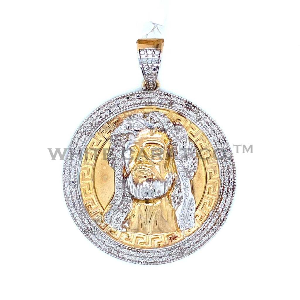 1.00 CT. Diamond Jesus Pendant in 10K Gold - White Carat Diamonds
