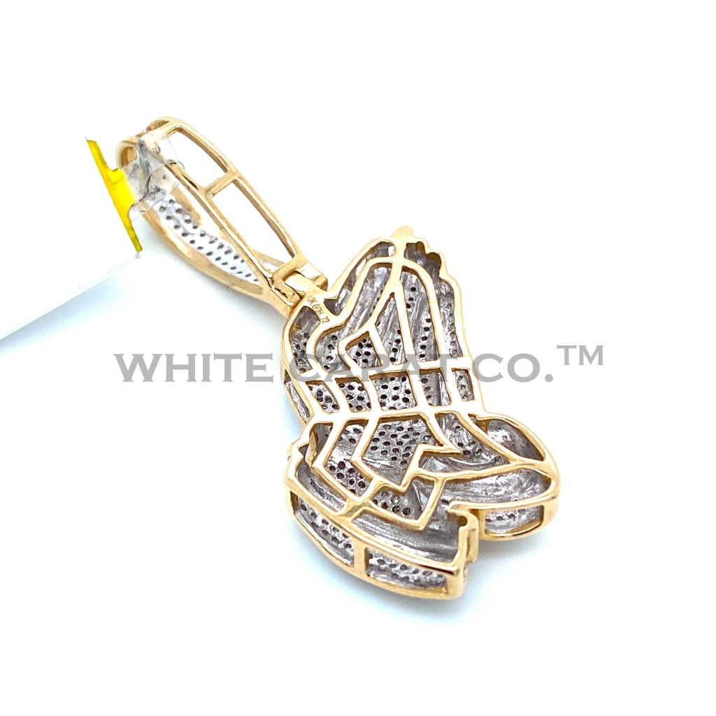 0.73 CT. Diamond Prayer Hands Pendant in 10KT Gold - White Carat Diamonds