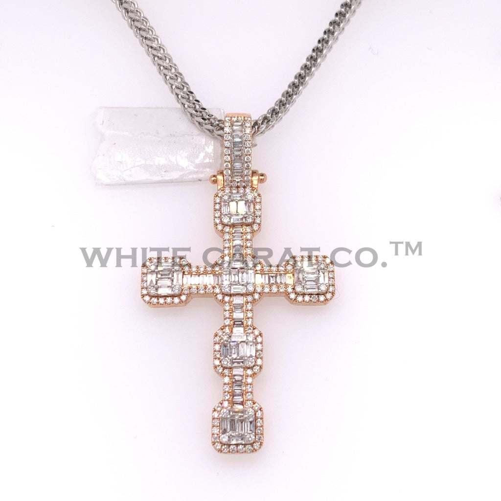 2.75CT Diamond 14K Rose Gold Cross Pendant