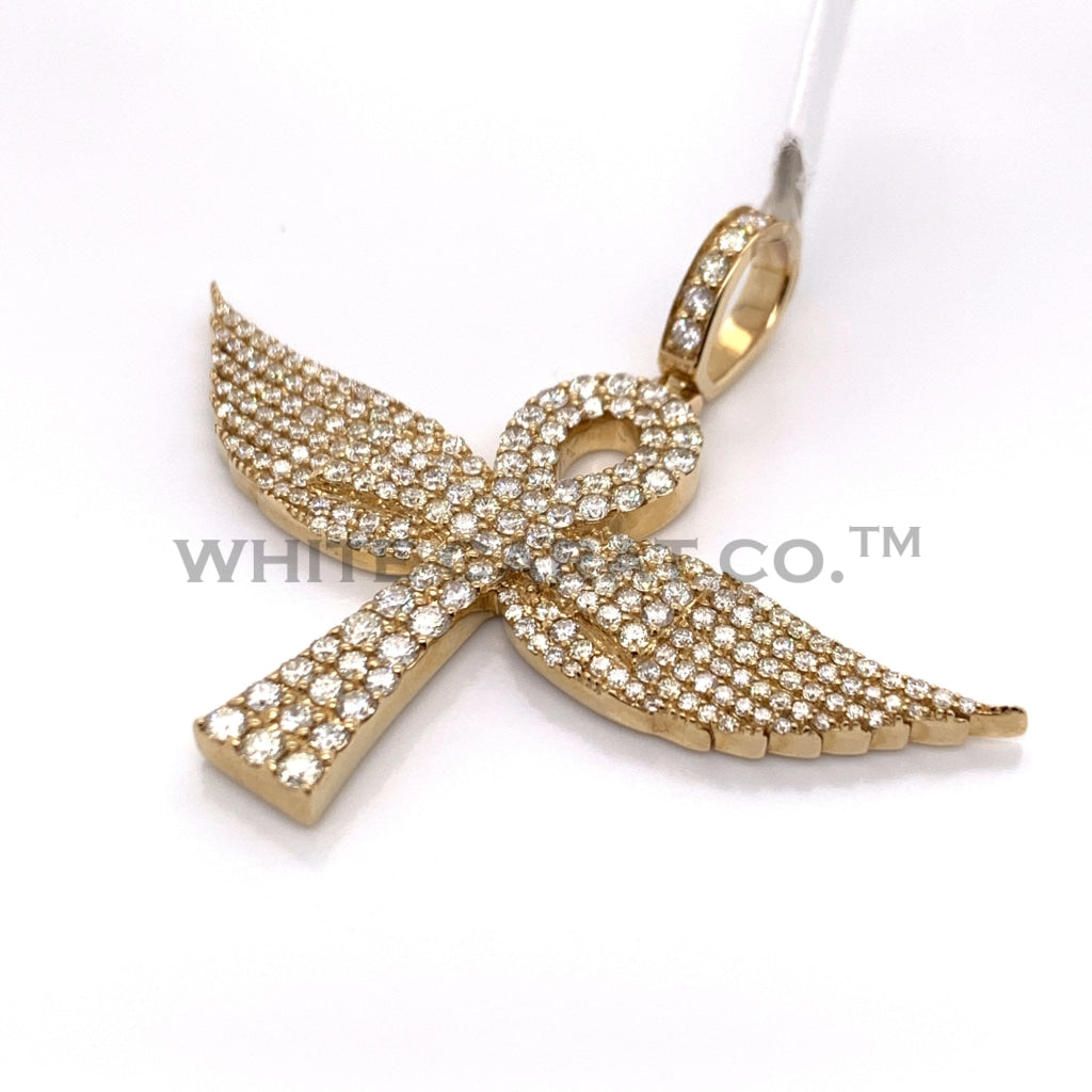 3.92CT Diamond 10K Yellow Gold Ankh Cross Pendant