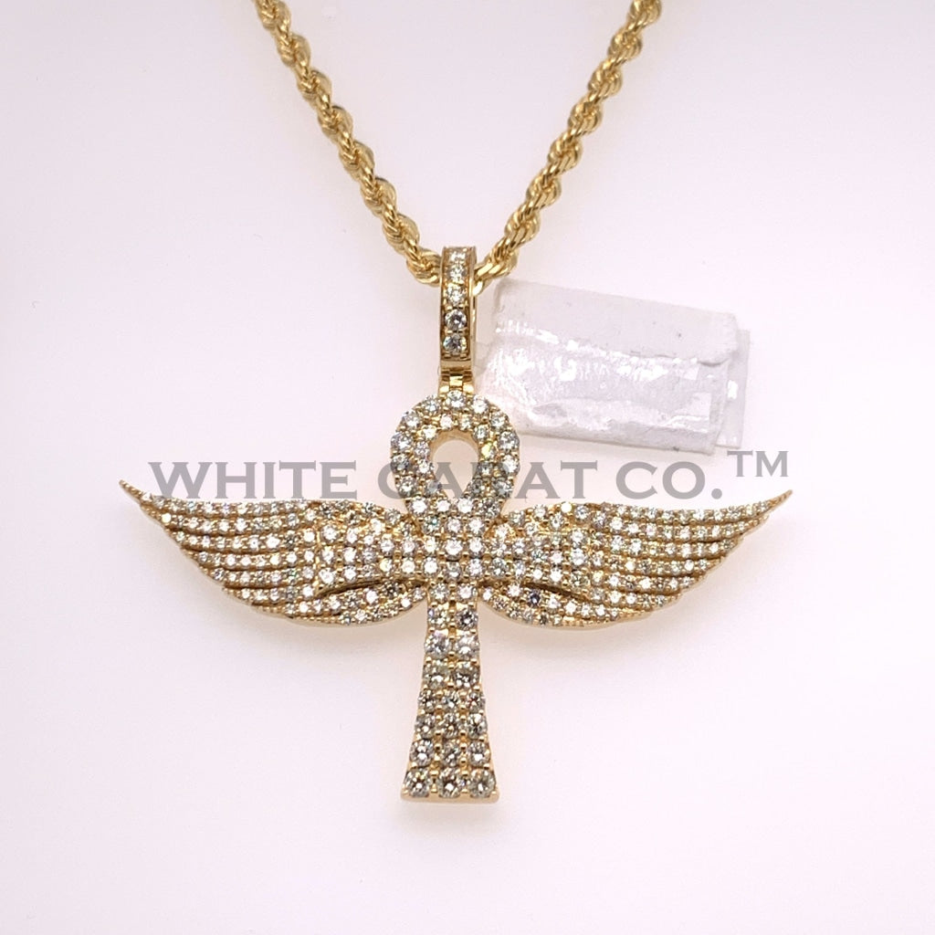 3.92CT Diamond 10K Yellow Gold Ankh Cross Pendant - White Carat - USA & Canada