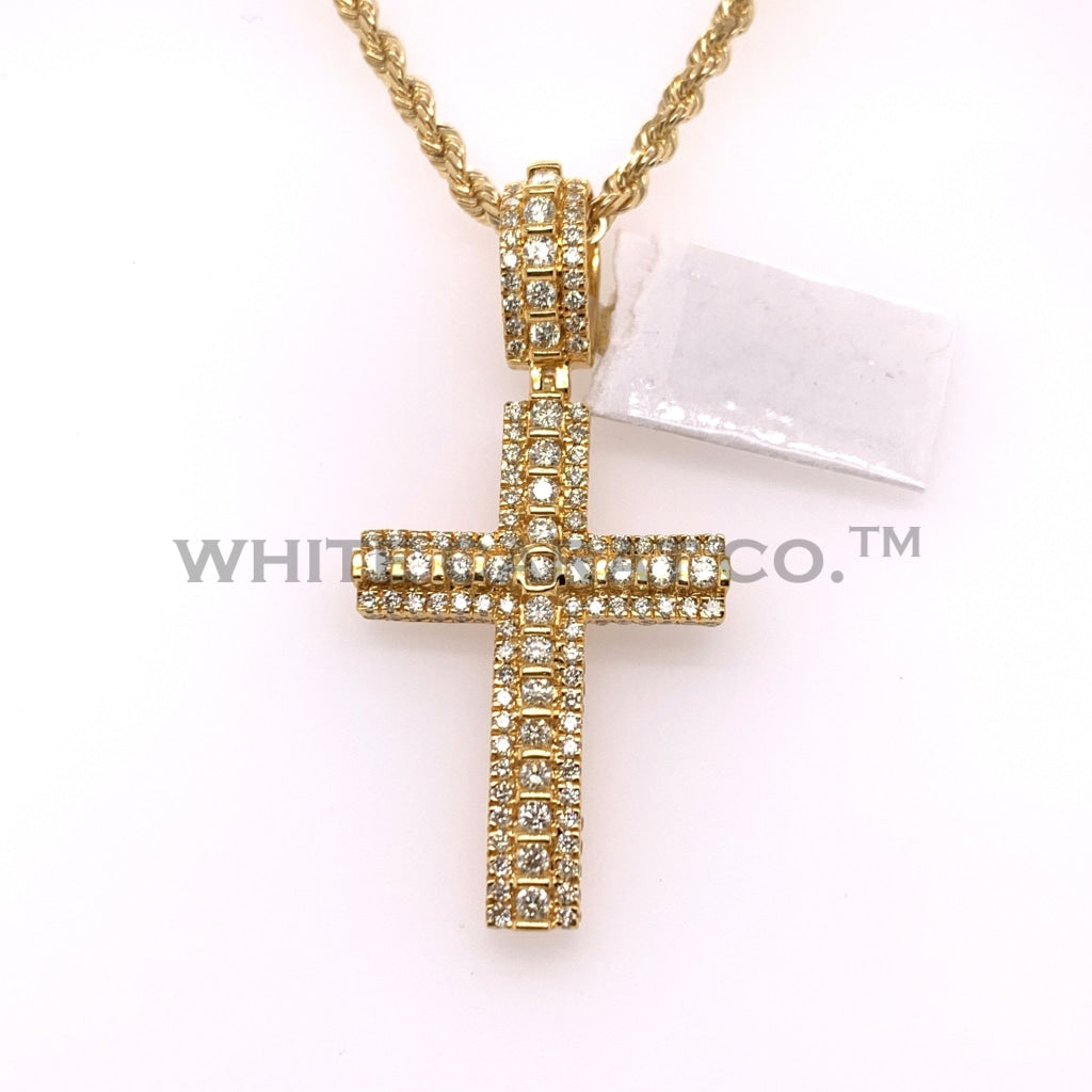 2.24CT Diamond 10K Yellow Gold Cross Pendant - White Carat Diamonds