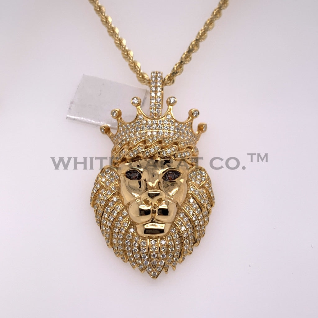 2.02CT Diamond 14K Yellow Gold Lion Pendant - White Carat Diamonds