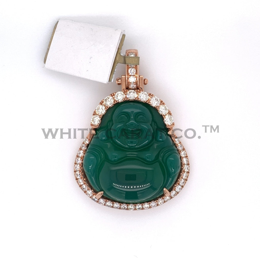 1.55CT Diamond 10K Rose Gold Buddha Pendant - White Carat - USA & Canada
