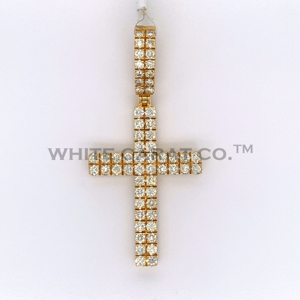 2.07CT Diamond 10K Yellow Gold Cross Pendant