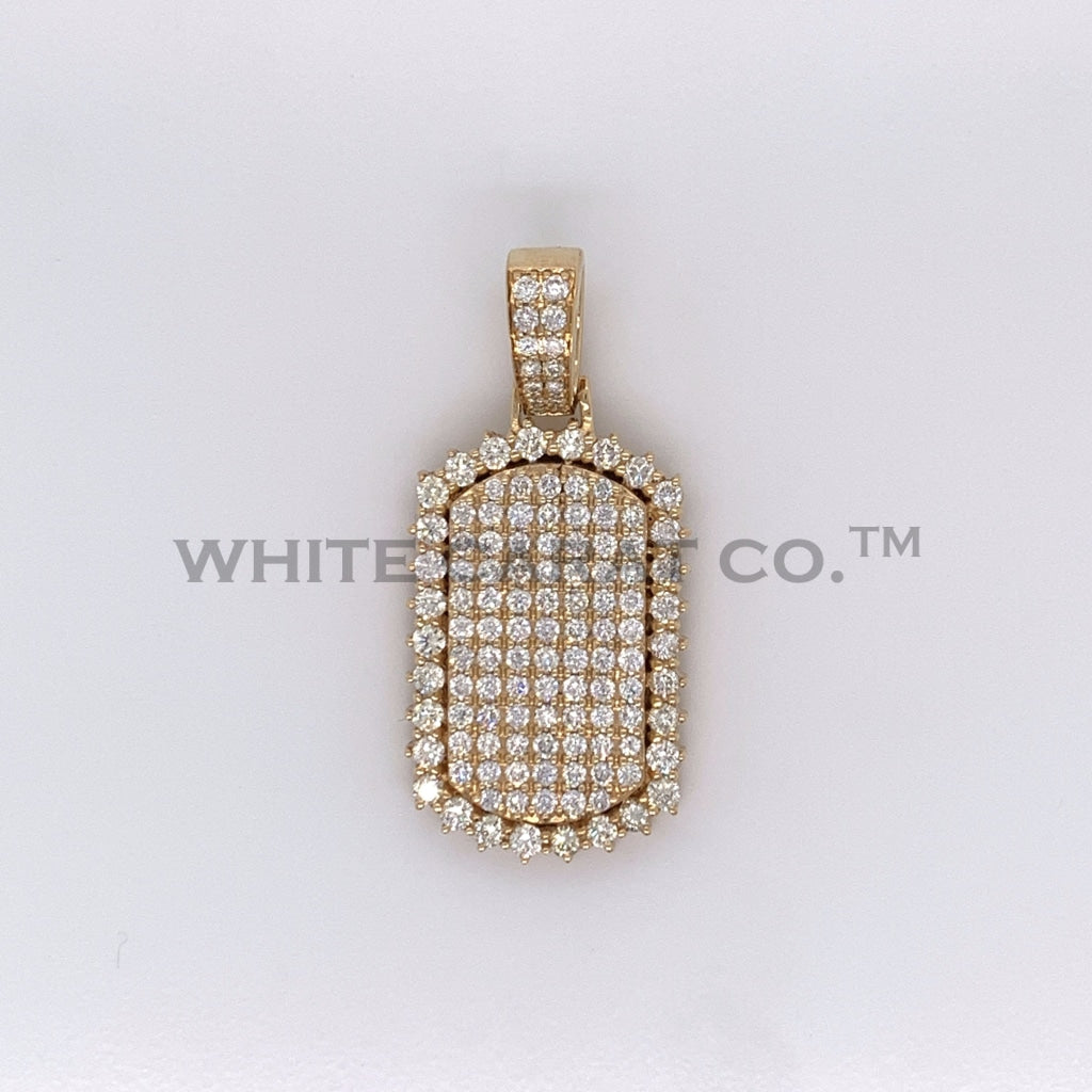 2.50CT Diamond 14K Yellow Gold Dog Tag Pendant