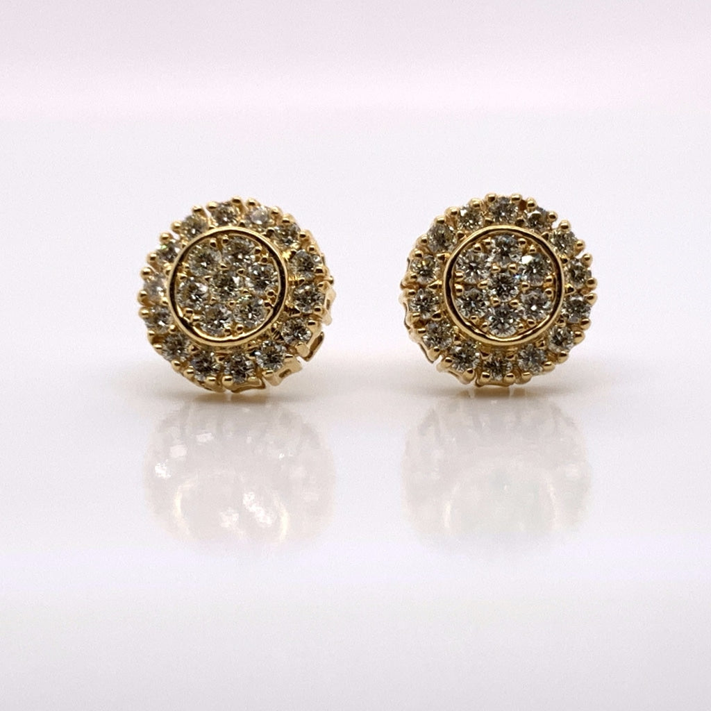10K Yellow Gold Diamond Earrings - White Carat - USA & Canada