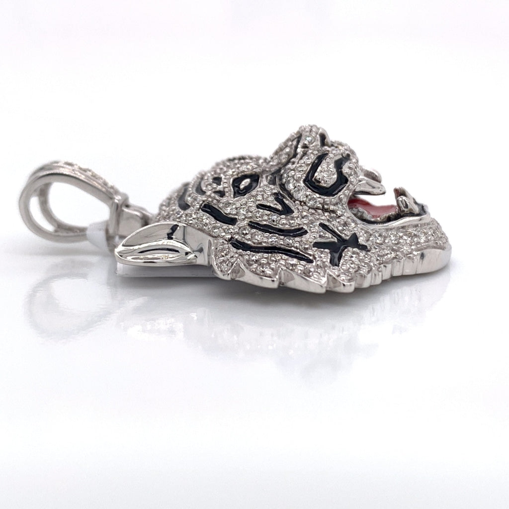 10K White Gold Diamond Tiger Pendant