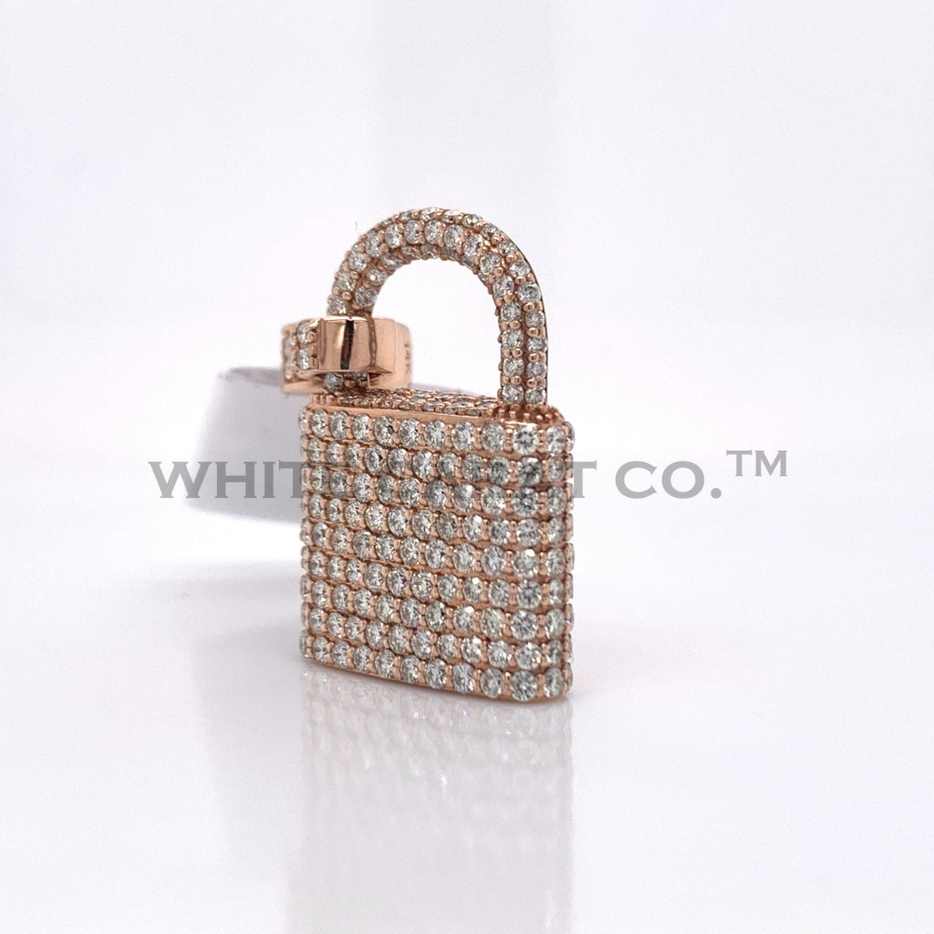 2.31 CT. Diamond 14K Rose Gold Lock Pendant - White Carat - USA & Canada