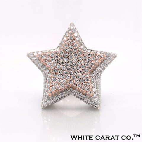 13.00 CT. VVS Diamond Two Tone Star Ring in Gold - White Carat - USA & Canada