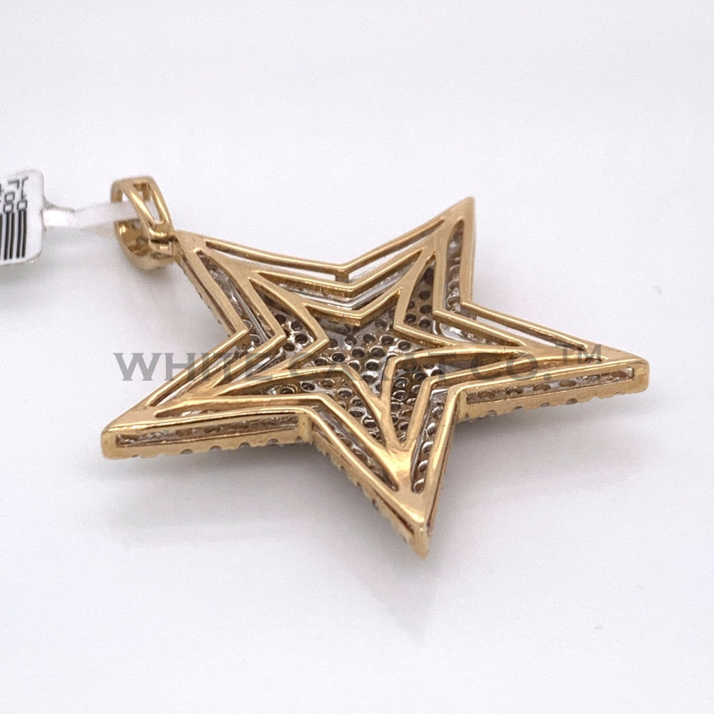 2.00 CT. Diamond 14K White And Yellow Gold Star Pendant