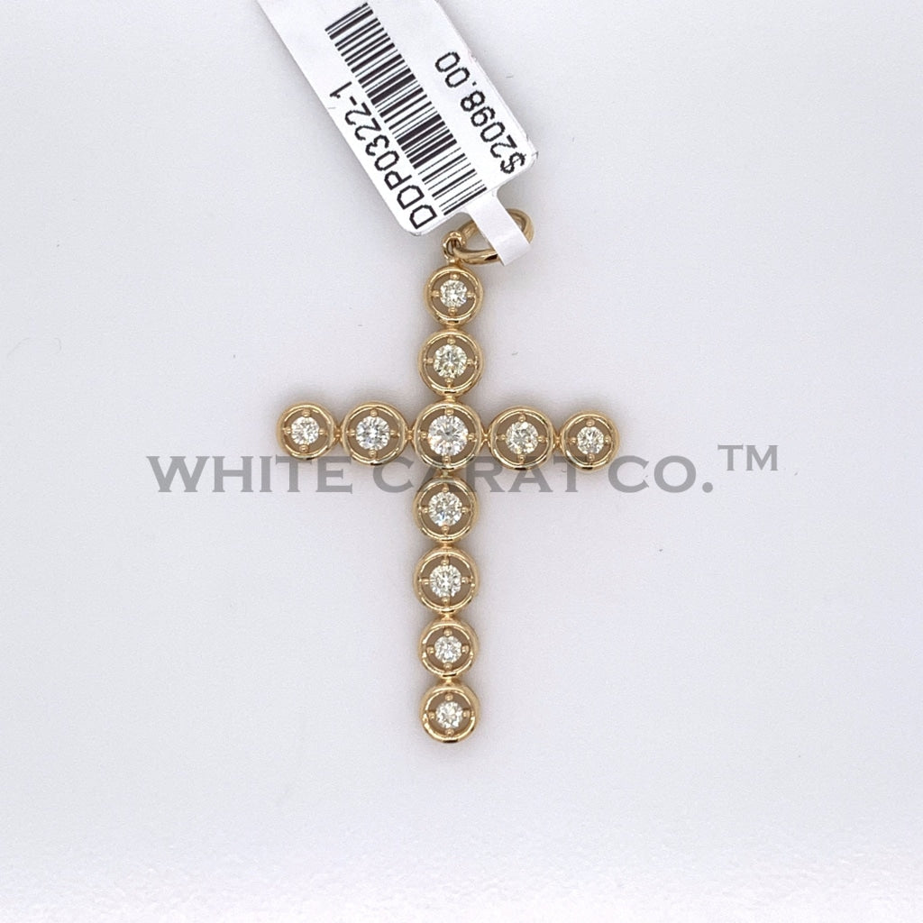0.60CT Diamond Circular Module 14K Yellow Gold Cross Pendant - White Carat Diamonds