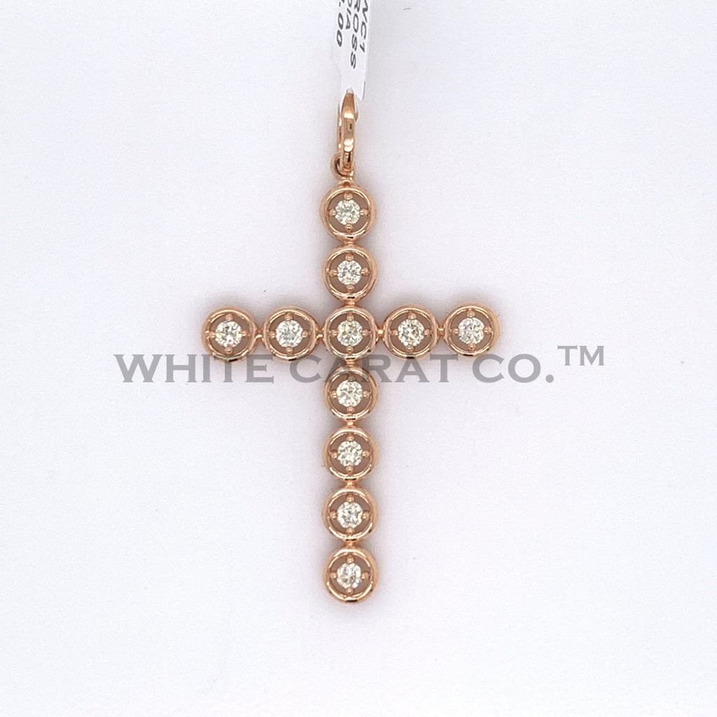 0.60CT Diamond Circular Module 14K Rose Gold Cross Pendant - White Carat - USA & Canada