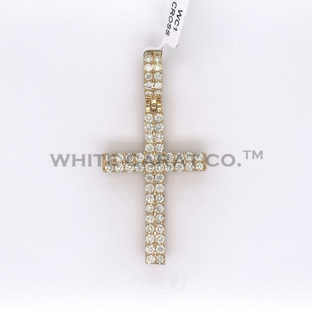 1.90 CT. Diamond Convex Design 10K Yellow Gold Cross Pendant - White Carat - USA & Canada