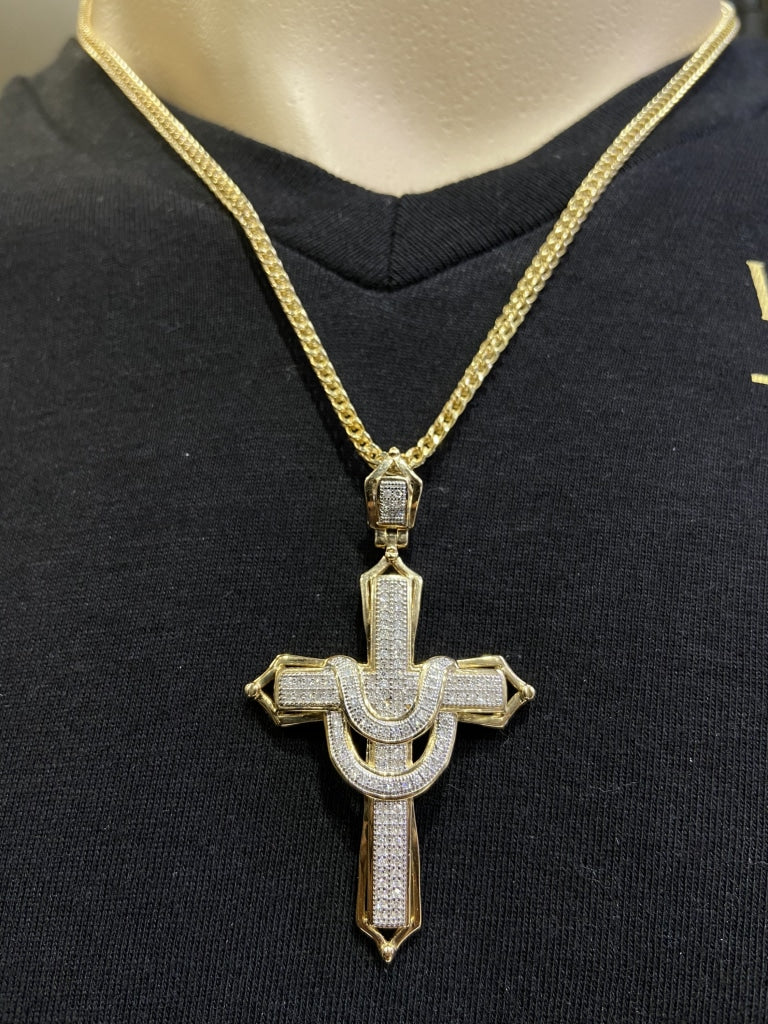 0.75 CT. Diamond Cross Pendant in 10KT Gold - White Carat Diamonds