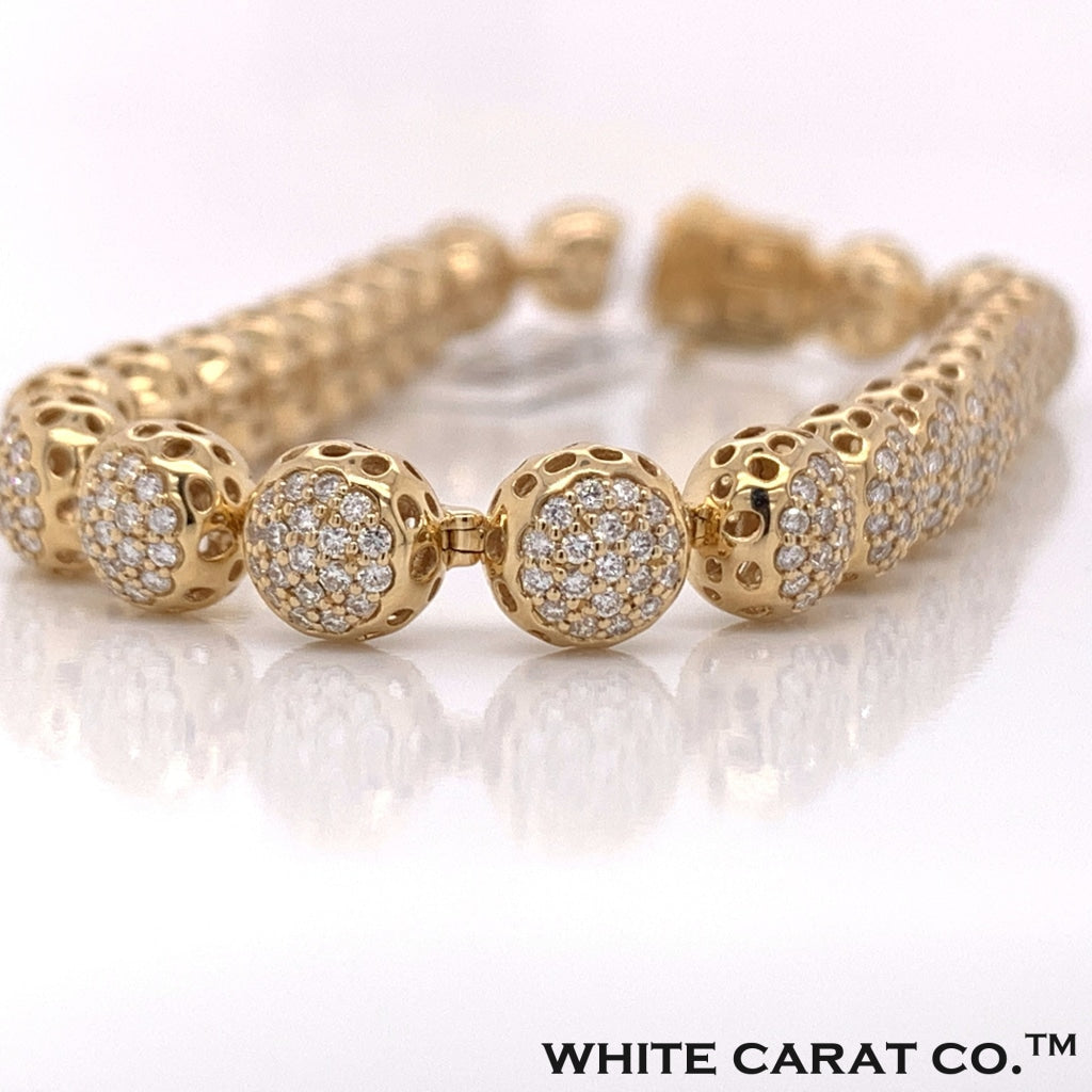 14K Yellow Gold Diamond Bracelet - White Carat - USA & Canada