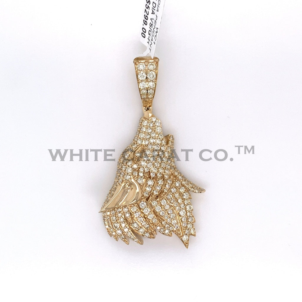 3.00CT Diamond Howling Wolf in 14K Gold Pendant - White Carat Diamonds
