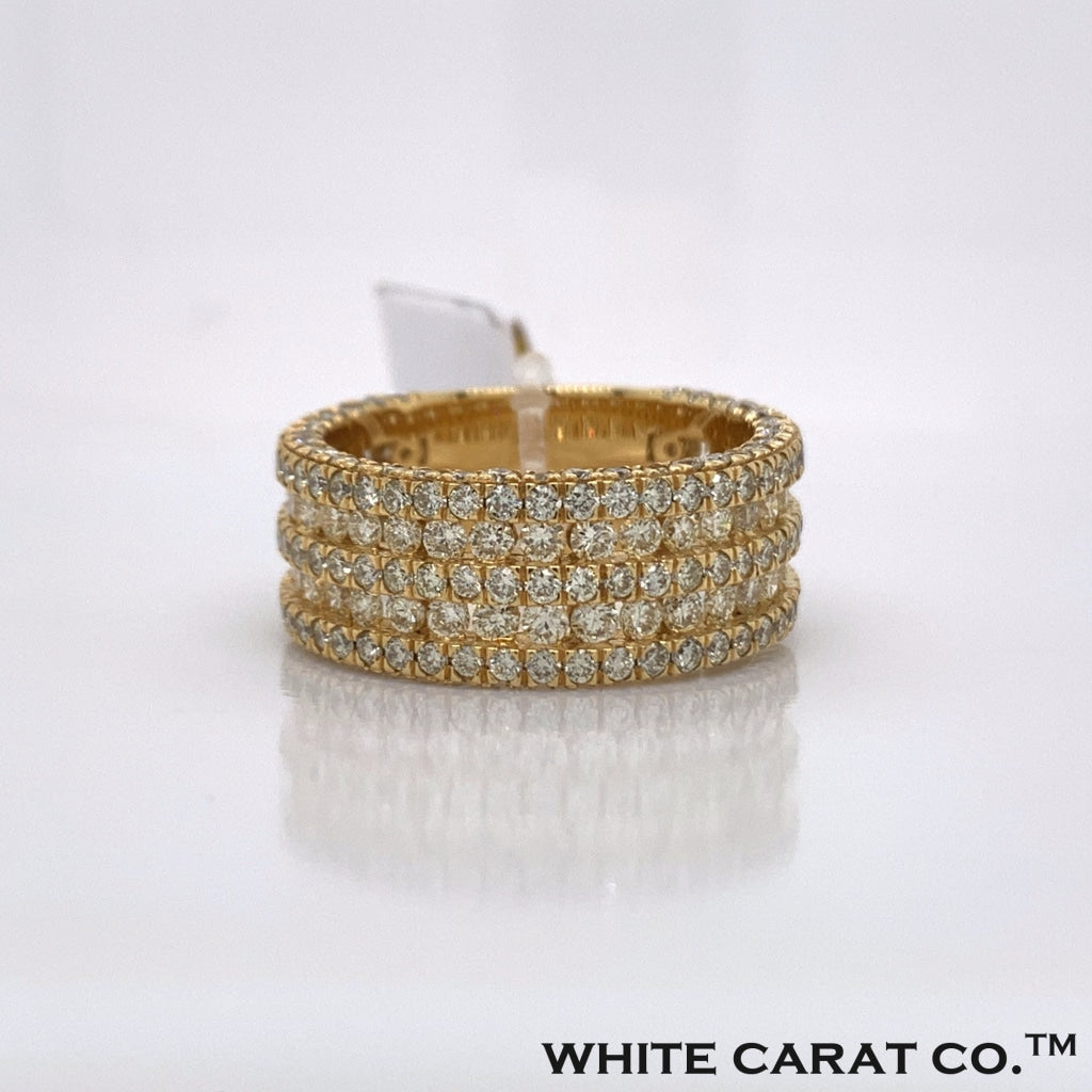 4.09CT Diamond 10K Yellow Gold Ring - White Carat - USA & Canada