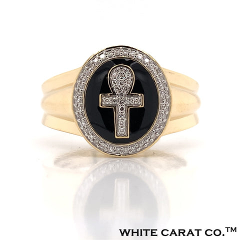 0.15 CT. Diamond Ankh Ring in Gold - White Carat - USA & Canada