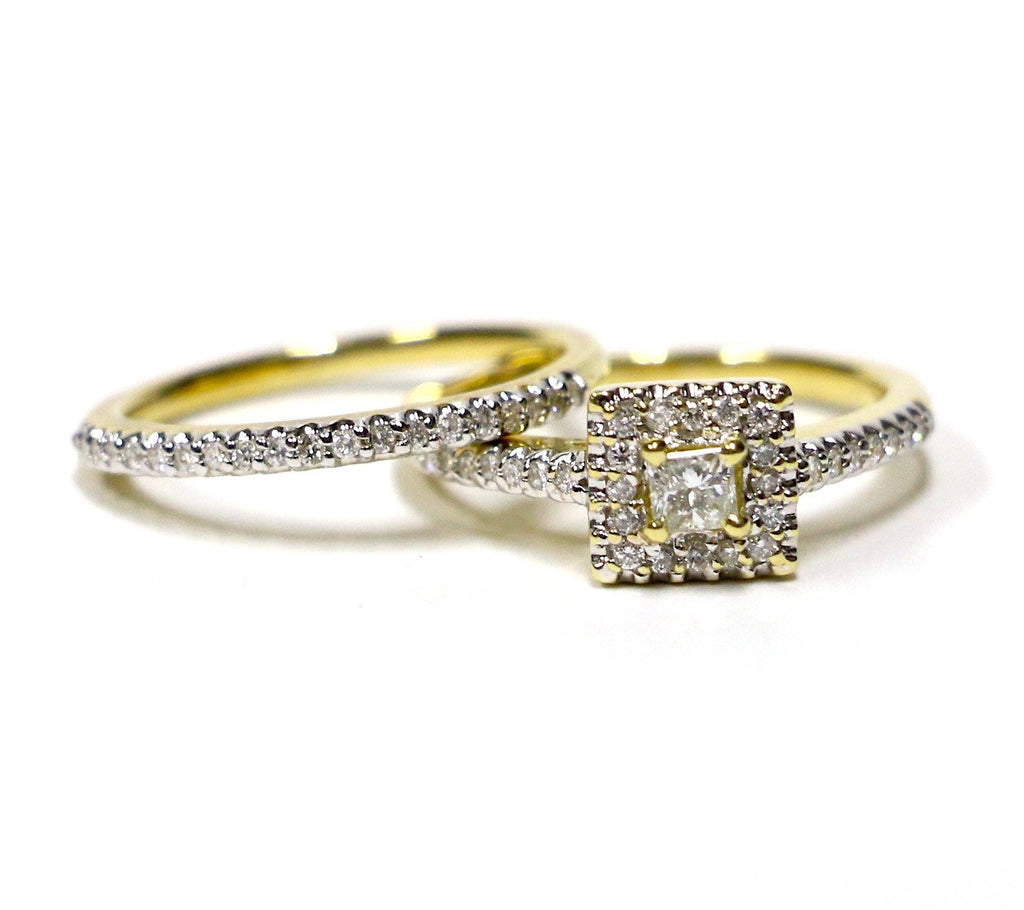 0.55 CT. Square Diamond Engagement 2 Ring Set in 14K Yellow Gold - White Carat - USA & Canada