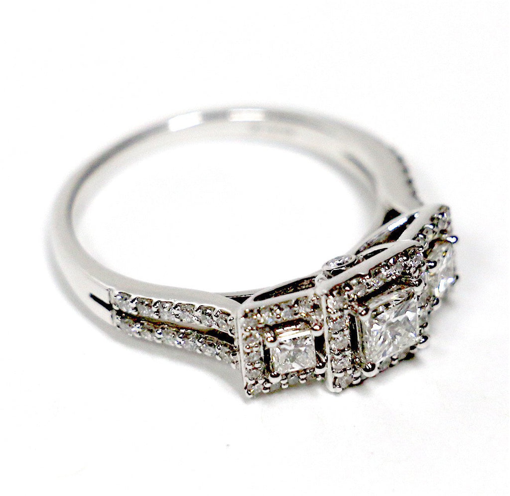 1.00 CT. Three Stone Princess Cut Diamond Engagement Ring in 14K White Gold - White Carat Diamonds