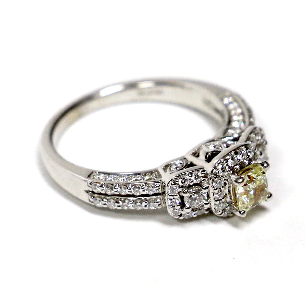 1.00 CT. Genuine Canary Diamond Engagement Ring in 14K White Gold - White Carat - USA & Canada
