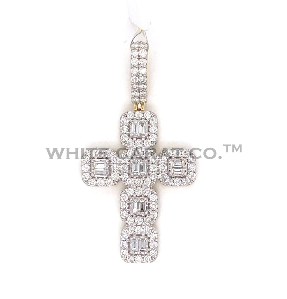 1.74CT Diamond Gold Back Baguette 10K Yellow Gold Pendant