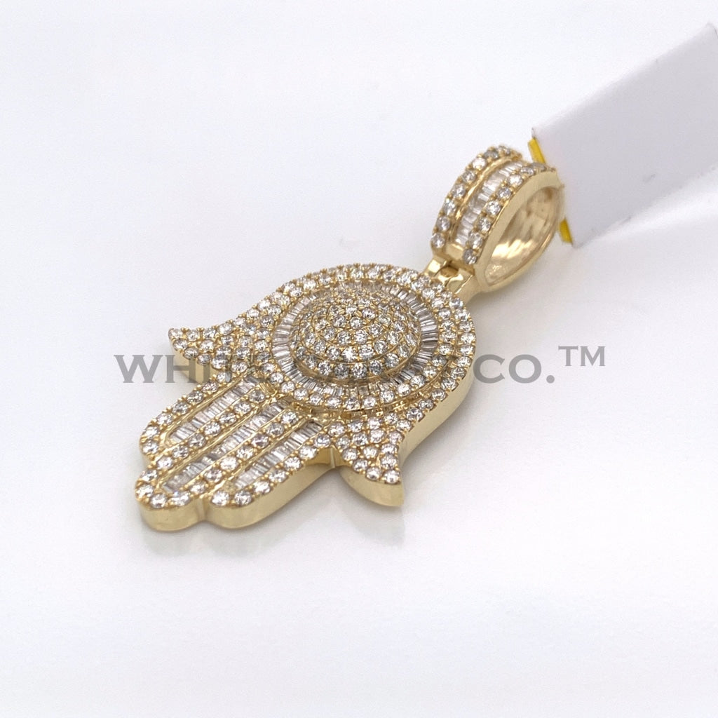 2.59CT Diamond Hamsa Hand Pendant in 10KT Gold - White Carat Diamonds