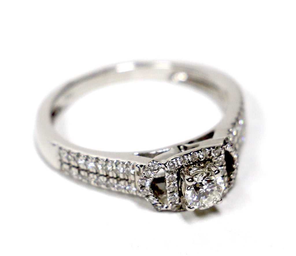 0.50 CT. Square Diamond Engagement Ring in 14K White Gold - White Carat Diamonds