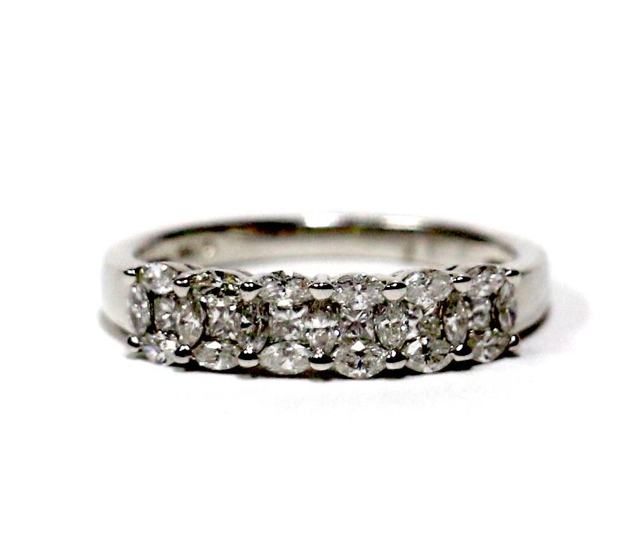 0.63 CT. Five Stone Diamond Wedding Band in 14K White Gold - White Carat - USA & Canada