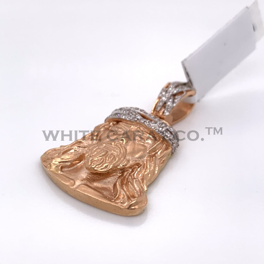 0.35CT Diamond Jesus Pendant in 14K Rose Gold - White Carat Diamonds