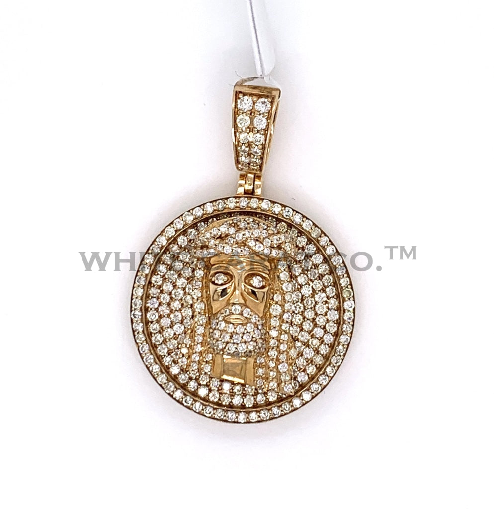 2.35 CT. Diamond Jesus Medallion Pendant in 10K Gold - White Carat Diamonds