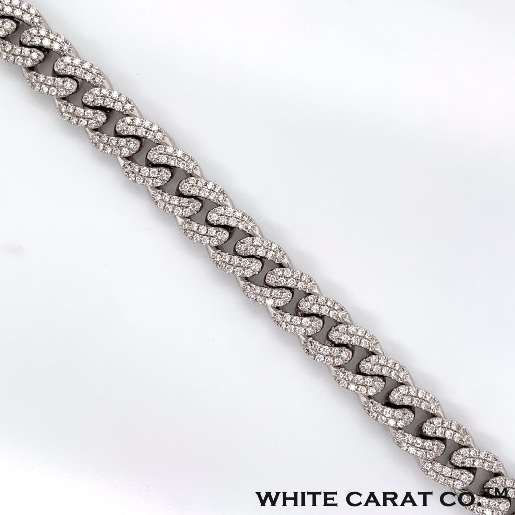 5.26CT Diamond Cuban Bracelet in 14K White Gold - 10mm - White Carat Diamonds