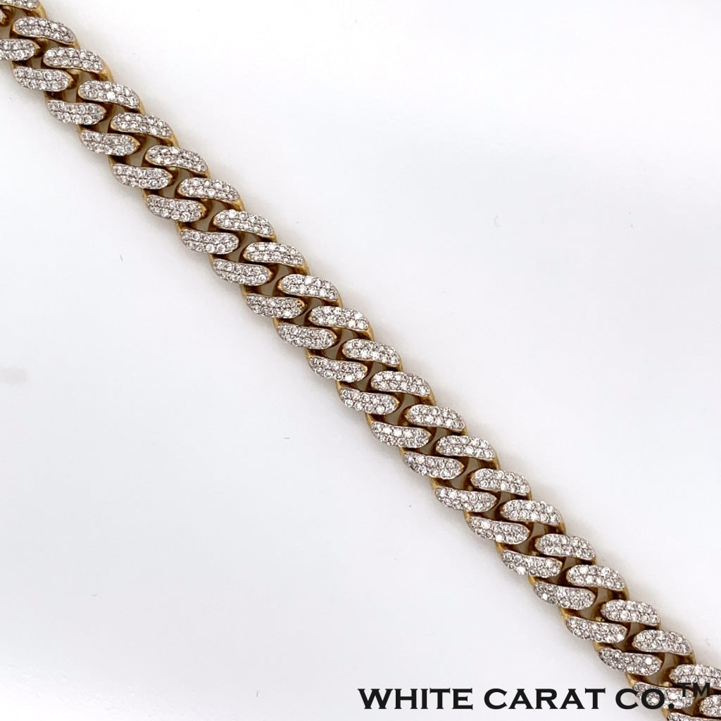 4.82CT Diamond Cuban Bracelet in 10K Gold - 9mm - White Carat Diamonds